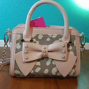Betsey Johnson mini leopard blush bow purse